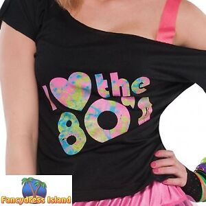 LADIES 80's DISCO PARTY TOP T-SHIRT I LOVE THE 80's- ladies womens fancy dress