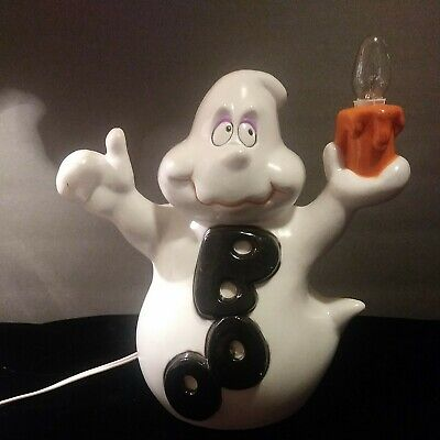 "9"" Blow Mold indoor Halloween Lighted Ghost. Holding lighted candle Adorable!"