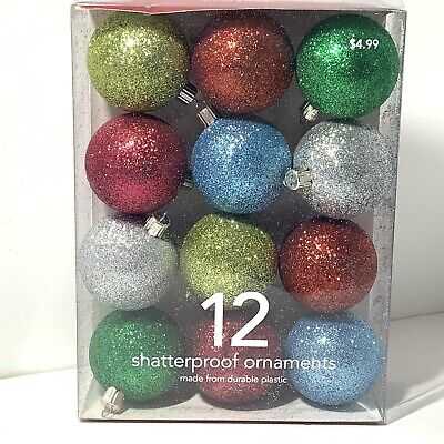 MARTHA STEWART 12 Pc Shatterproof CHRISTMAS Ornaments MULTI COLOR Glitter 2006