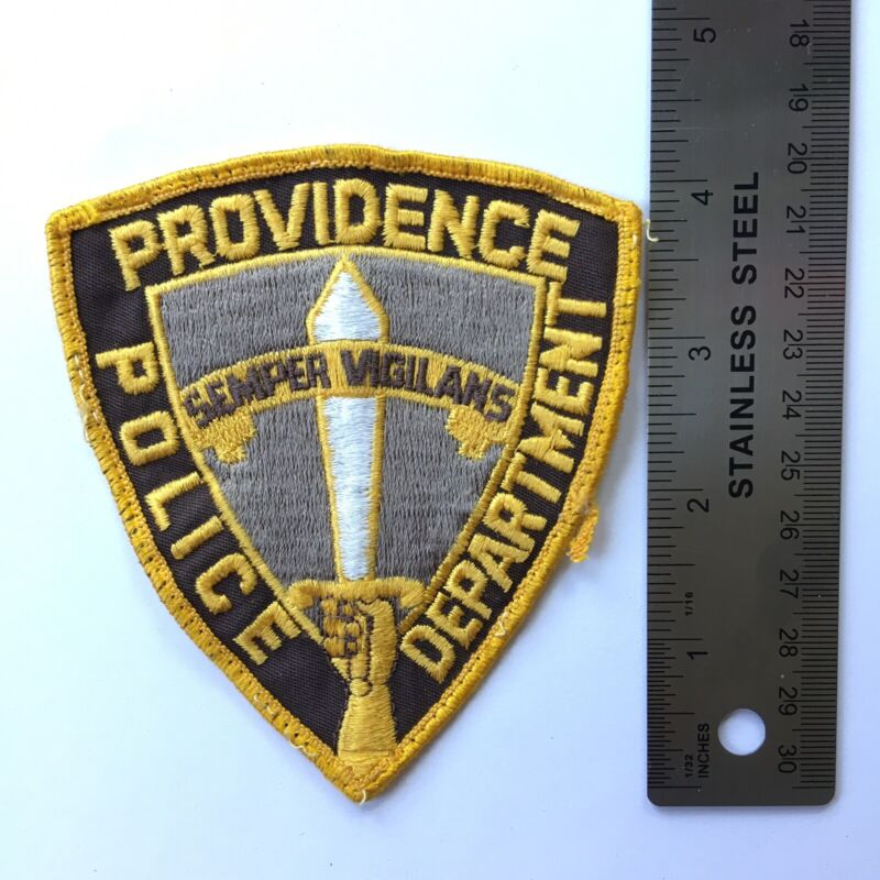PROVIDENCE POLICE DEPARTMENT PATCH SEMPER SWORD VINTAGE CHEESE CLOTH