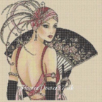 Cross stitch chart  Art Deco Lady 11   FlowerPower37-Uk