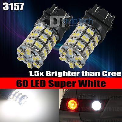 2X 3157/3156 6000K Xenon White Backup Reverse 60-SMD LED Lights Bulbs