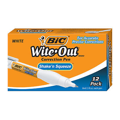 Wite-out Shake N Squeeze Correction Pen - Tip Applicator - 8 Ml - White - 12