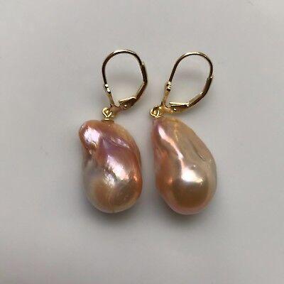 Baroque Freshwater Pearl Earrings - Baroque Pearl Earrings,Large Freshwater Pearl Earrings,S925 Lever Back Earrings