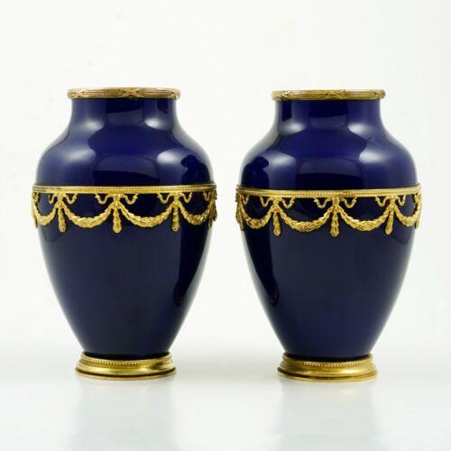 Antique Pair French Paul Milet Sevres Vases Cobalt Blue Empire Style Gilt Bronze