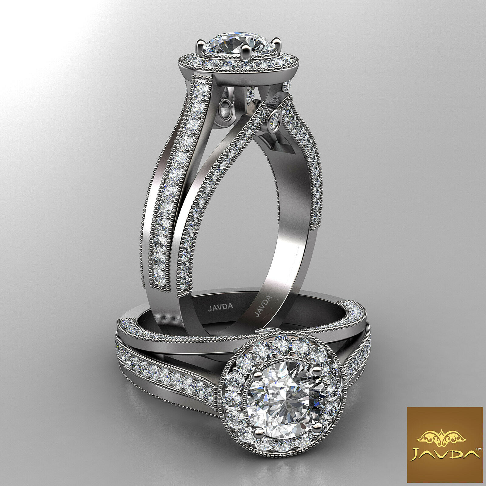 2.76ctw Milgrain Halo Sidestone Round Diamond Engagement Ring GIA F-SI1 W Gold