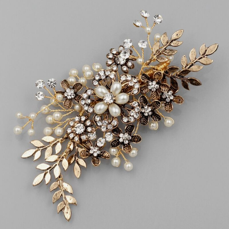 Crystal Bridal Hair Comb Clip Headpiece Wedding Accessories 04279 Antique Gold