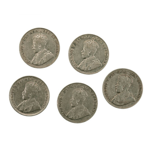 5 different Canada King George V nickels 1920