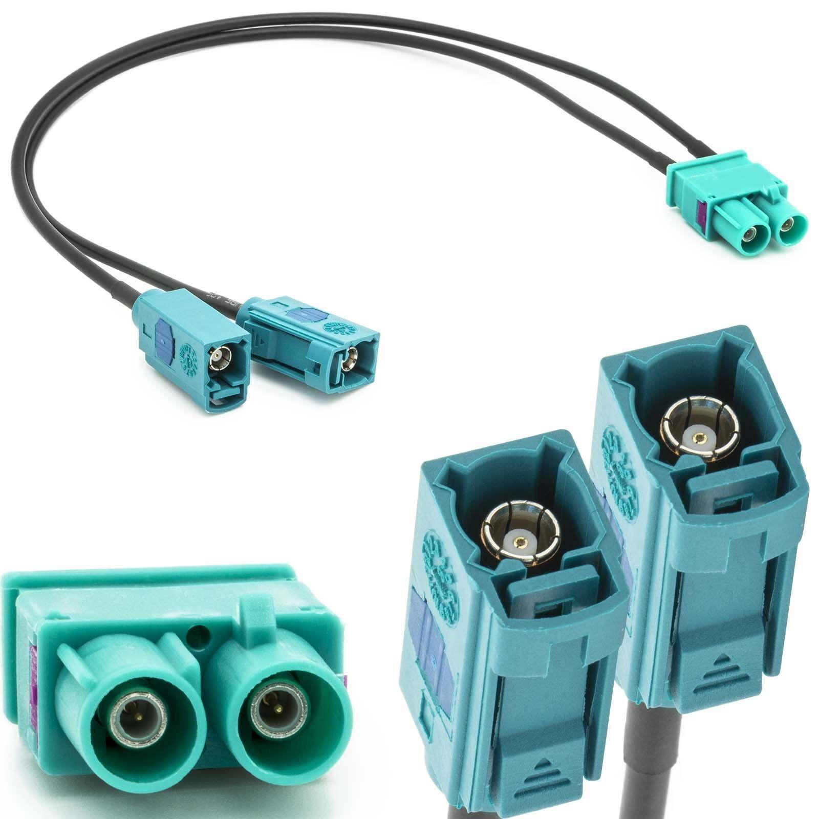 Antennen Adapter Doppel 2fach FAKRA (Z) Stecker (M) auf 2 FAKRA Buchse (F) Kabel