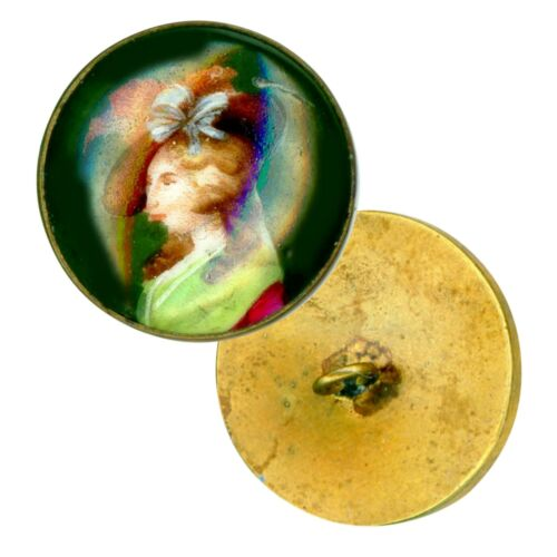 Button--Early 20th C. Transfer Porcelain Hat Lady in Brass