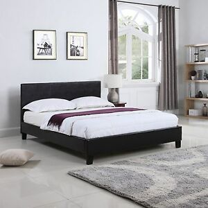 bonded leather low profile platform bed frame w paneled headboard full