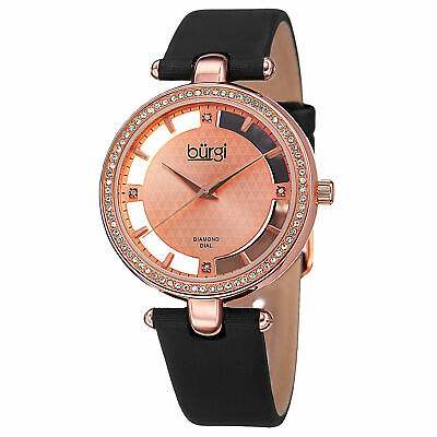 New Women's Burgi BUR104RG Swiss Quartz Diamond Rose-tone Satin Strap Watch