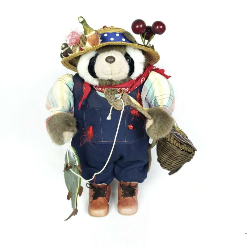 "Hand Made Fishing Raccoon 18"" Tall with real wood fishing pole, basket and Hat!"