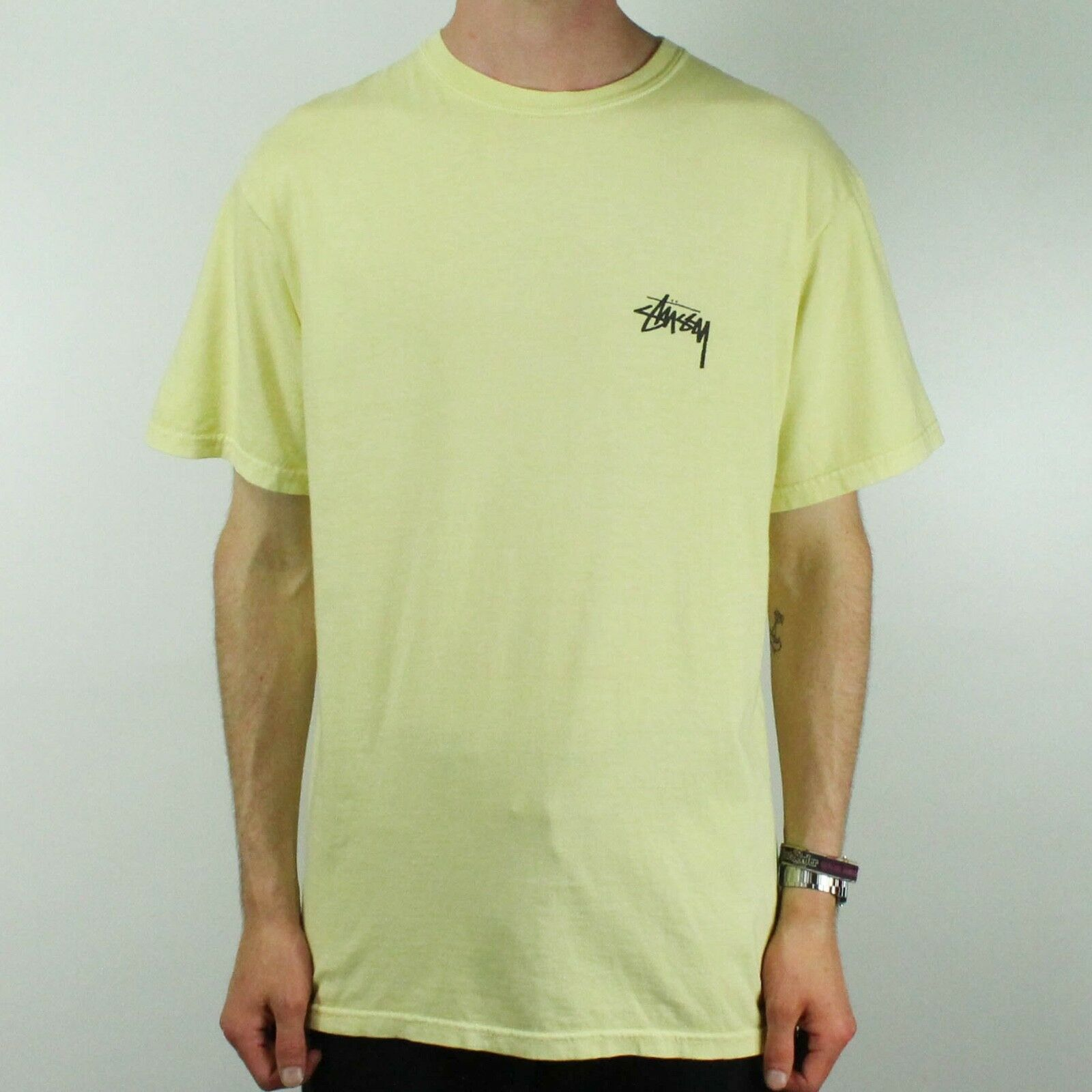 2ce4652b Details about Stussy Tribeman Pig. Dyed Graphic Basic T-Shirt Tee in Yellow  in size M,L