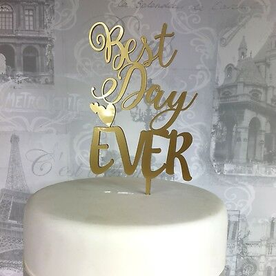 Wedding acrylic cake topper best day ever engaged marriage MADE IN THE