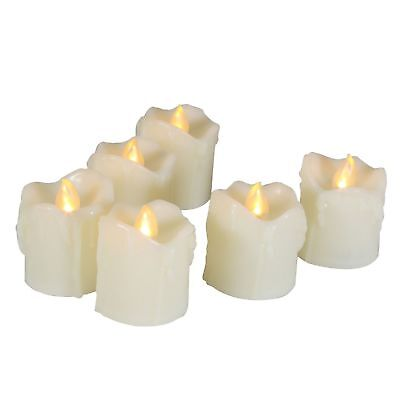 EcoGecko 6 Piece LED Flameless Votive Candles Battery Operated with Timer  - Battery Operated Votives