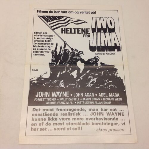 Sands of Iwo Jima John Wayne John Agar Mara Vtg 1949 Danish Movie Press Release