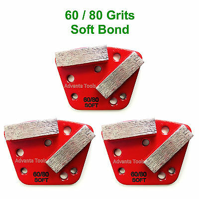 3pk Trapezoid Htc Style Grinding Shoe Disc Plate - Soft Bond - 6080 Grit