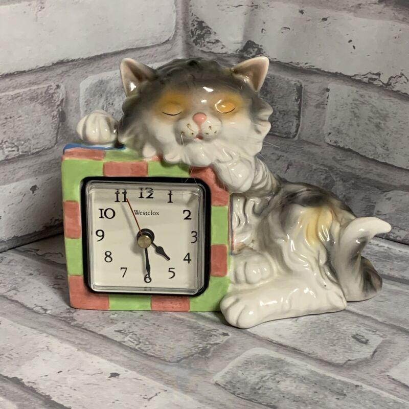 Westclox Cat Nap Figurine Clock Porcelain