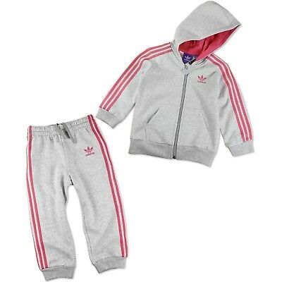 Fleece Trainingshose Mädchen (ADIDAS ORIGINALS HAUSANZUG TRAININGSANZUG PULLOVER + HOSE BABY GRAU ROSA 74)