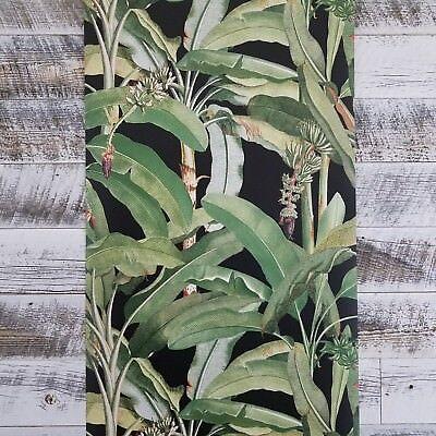 Manor House Tropical Banana Leaf Botanical Plant Designer Green Black Wallpaper Banana Leaf House