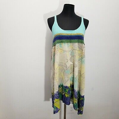 Free People Womens Dress Size M Abstract Floral Beach Knit Racerback Watercolor