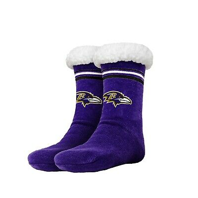 Baltimore Ravens Women's Stripe Logo Tall Footy Slippers - Size 6-10  Non Skid Baltimore Ravens Womens Socks