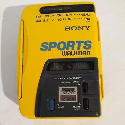 WORKING Sony Sports Walkman WM-AF58 Cassette Tape Player Radio AM FM Yellow