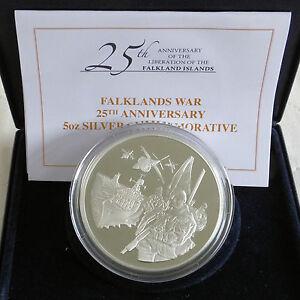 2007-FALKLANDS-WAR-25th-ANNIVERSARY-HALLMARKED-5oz-SILVER-PROOF-boxed-coa