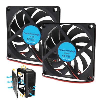 2x 12V USB Lüfter 80mmx80x10mm PC Computer Cooler Gehäuselüfter Gehäuse Kühler