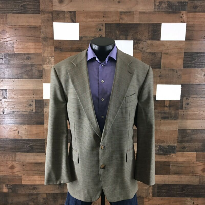 Chaps Ralph Lauren Suit Jacket Blazer Sport Coat Plaid Wool Classic Fit Mens 46R