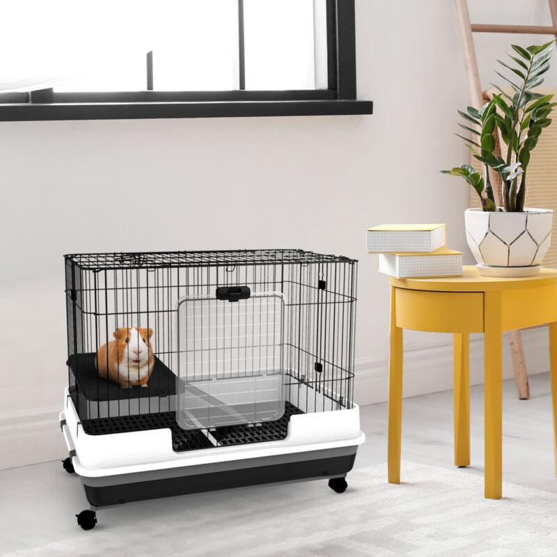 "32""H 2-level Rabbit Cage Indoor Small Animal Hutch Ferret House Habitat Metal"