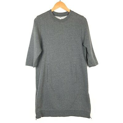 Fabletics Womens Elena Sweatshirt Dress Medium Gray 3/4 Sleeve Side Zip Pockets