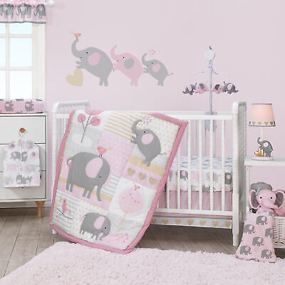 Bedtime Originals Eloise 3-Piece Crib Bedding Set - Pink, Gray, White, Animals