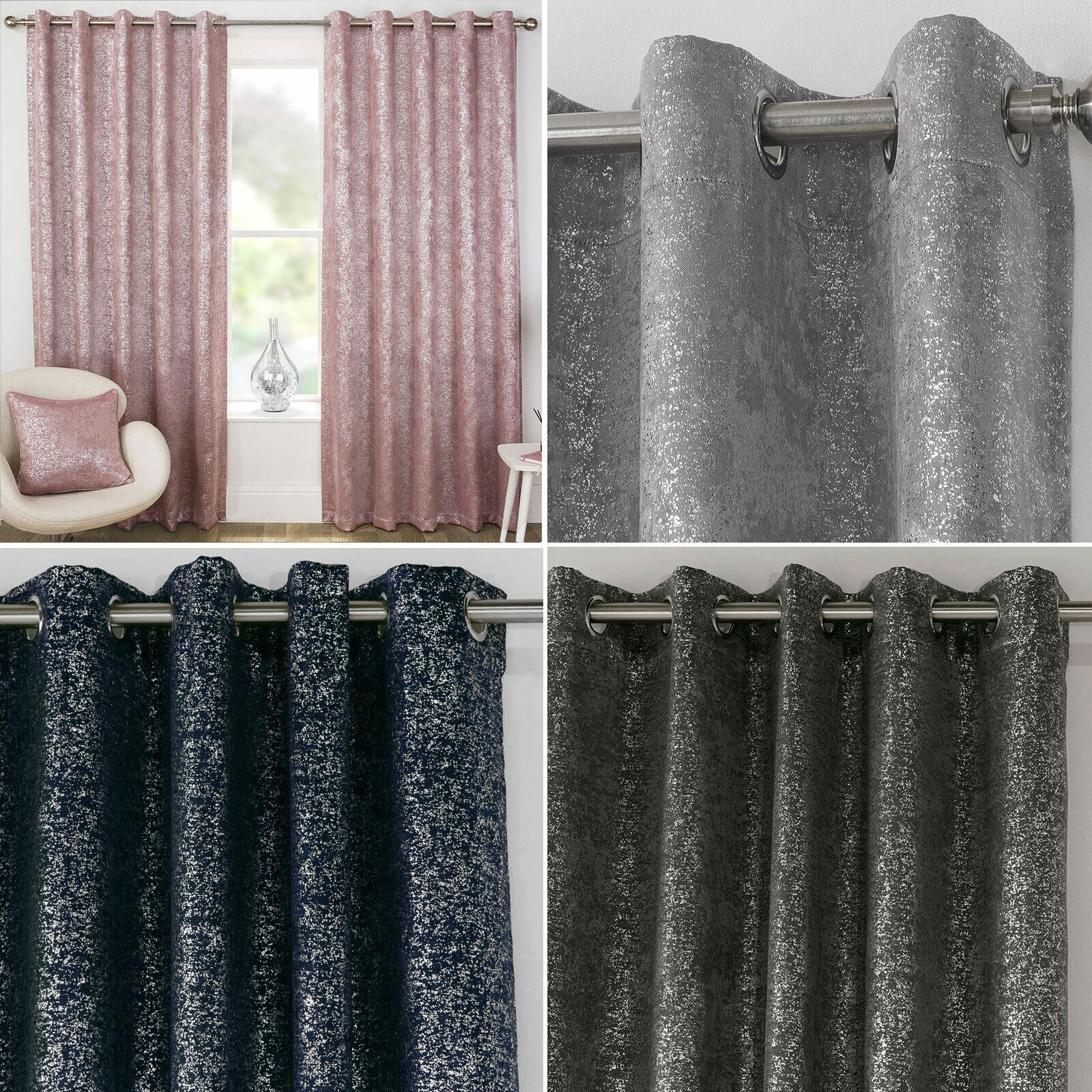 curtains - Pair of Designer Metallic Sparkle Bling Thermal Blockout Eyelet Ring Curtains