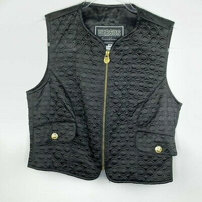 Versus Gianni Versace Mens Vintage Quilted Vest Gold Hardware Lion Rare