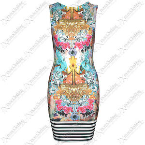WOMEN LADIES ZIP BACK STRIPE & DESIGNER FLORAL PRINT MINI DRESS BODYCON DRESSES