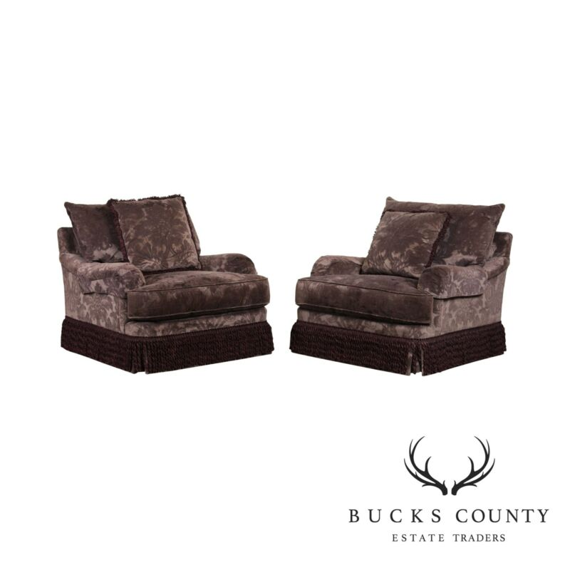Henredon Upholstery Collection Custom Pair Swivel Lounge Chairs