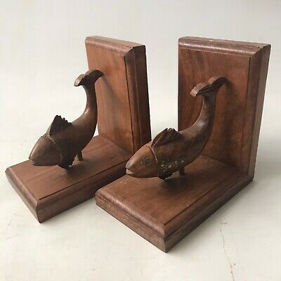 Vintage Wooden Fish Bookends Carved Hardwood Brass Inlay Detail Handmade 15cm