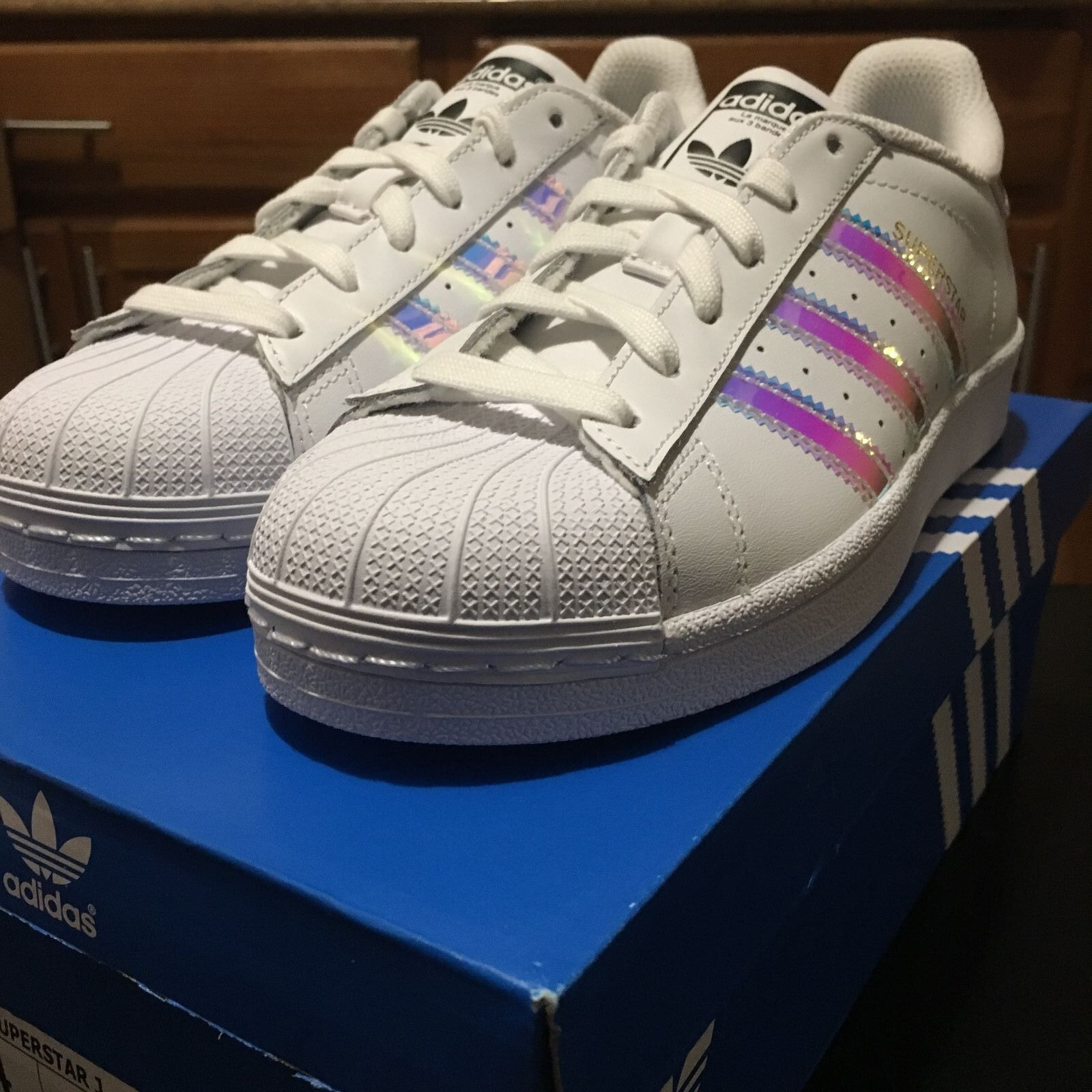 Adidas Originals Superstar J Aq6278 White Iridescent Hologram Mirror Kids Wmns