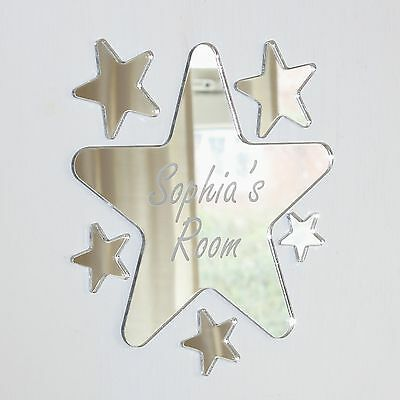 Personalized Round Bed - Rounded Star Mirror Set Personalised Door Name Plaque Boy Girls Bed Room Sign