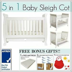 5 In 1 White/Walnut Baby Sleigh Cot & Toddler Bed with Mattress Mount Kuring-gai Hornsby Area Preview