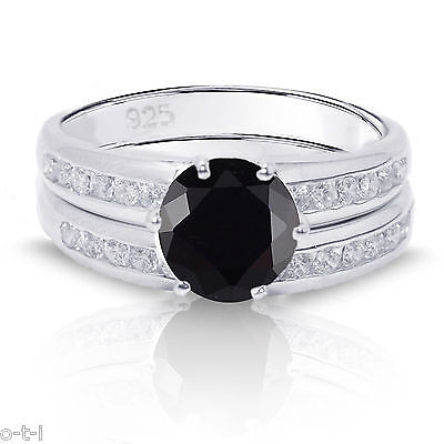 Round Cut Black Onyx Engagement Wedding Genuine Sterling Silver Ring Set