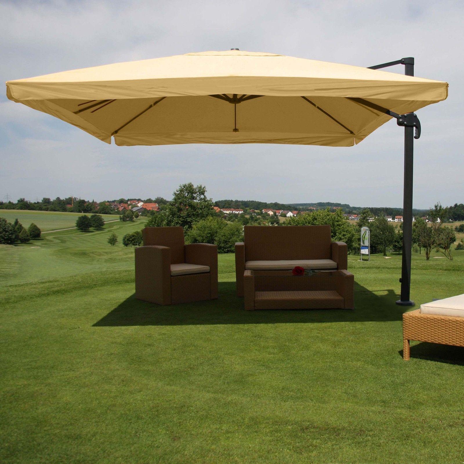 3x4 m Design Sonnenschirm Ampelschirm Gartenschirm 3m 4m Gastronomie MIT FLAP CREME