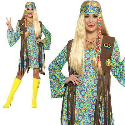 60s Hippie Chick Costume Womens Ladies Adult Hippy Fancy Dress Outfit (Hippy Chick Fancy Dress)
