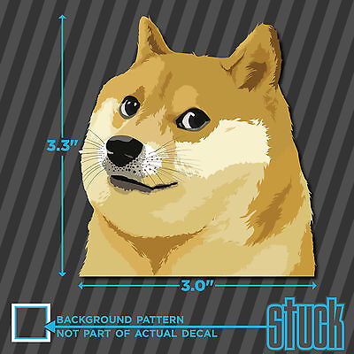 "Doge Head - 3.0""x3.3"" - printed vinyl decal sticker such wow dog shiba meme"