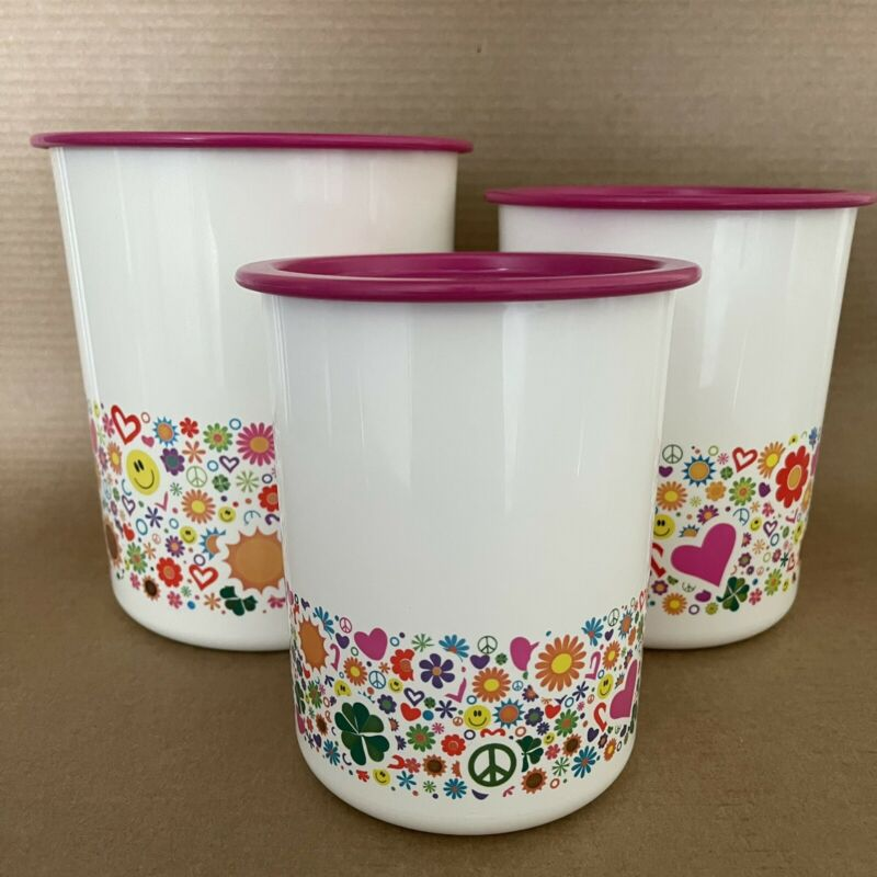 Tupperware Canisters Set of 3 Hearts Flowers Peace Sun Pink One Touch Seals NOS