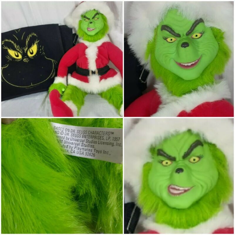 Dr Seuss ,The Grinch, Transforming Talking Plush Doll with Grinch messenger bag.