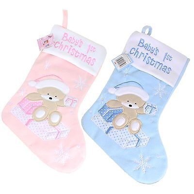 Baby's 1st Christmas Stocking with Teddy & Snowflakes - Pink or Blue