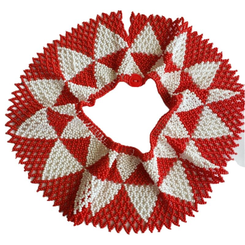 Vintage doily zigzac necklace seed beaded collar bib huichol red white necklace